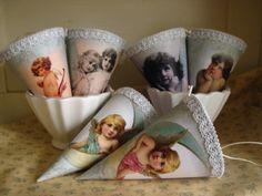 Cornets with Angels Serving Bowls, Free Printables, Decoupage, Angels, Tableware, Girls, Handmade, Bowls, Dinnerware