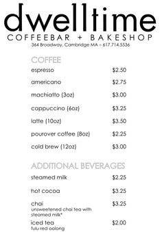 About as basic as you can get! coffee menu
