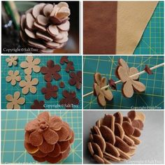 DIY Felt Pinecone Victor (on top) and Harry (below). Great tutorial from Salt Tree here for Victor. Harry the Pinecone i… – felt Flower Crafts, Diy Flowers, Fabric Flowers, Paper Flowers, Felt Flower Diy, Felt Flowers Patterns, Felt Flower Tutorial, Felt Crafts Diy, Felt Diy