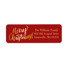 Red & Gold Merry Christmas Return Address Labels - return address gifts label labels cards diy cyo