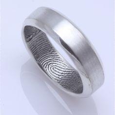 Her ring his fingerprint 25mm Custom Narrow Fingerprint Wedding
