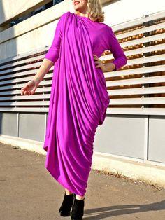 Purple Hand Made Casual Maxi Dress