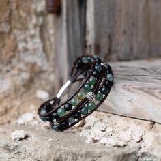 Layered leather gemstone bracelet, Women's Men's bracelet, Unisex jewelry, Healing gemstones Moss agate, Onyx Healing Gemstones, Moss Agate, Agate Beads, S Man, Pouch Bag, Bracelets For Men, Brown Leather, Layers, Unisex