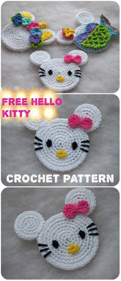 Hello Kitty Mouse Free Crochet Pattern Crochet Toys, Crochet Baby, Free Crochet, Knit Crochet, Double Crochet, Single Crochet, Hello Kitty Crochet, Knitting Patterns, Crochet Patterns