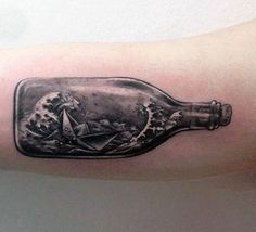 Amazing Orgami Ship In A Bottle Bicep Guys Tattoos