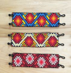 Mexican Bracelets - Flower Pattern - Multicolor - Unisex - Huichol Art - Romea Accessories- Jewelry - Beads