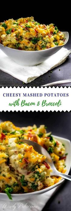 Like cheese, bacon and garlic? You are going to love these Cheesy Mashed Potatoes with Bacon and Broccoli! They are easy to make on the stove top or you can make them ahead of time and bake them. Perfect for your Thanksgiving or Christmas menu. #ad #Potatoes #clvr #christmas #ThanksgivingRecipes