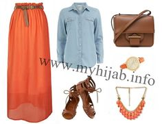 Orange & Denim Combination Idea