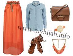 Orange & Denim Combination Idea