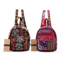 Women Small Backpack Chic Hippie Aztec Backpacks Cotton Shoulder Bag Tribal Woven Day Pack for Girls