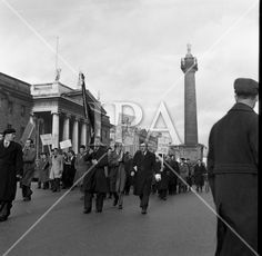 1957 - Unemployed Protest March in Dublin History Photos, Photo Archive, More Photos, Dublin, Ireland, Irish, March, Street View, Fine Art