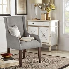 INSPIRE Q Jourdan Linen Sloped Arm Hostess Chair