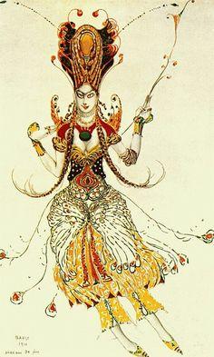¤ L'Oiseau de feu - 1910 - costume de l'Oiseau de feu. sketch by Leon Bakst. 1910