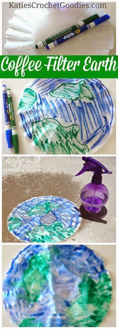 Earth day crafts for kids - easy to make coffee filter Earth #earthdaycrafts