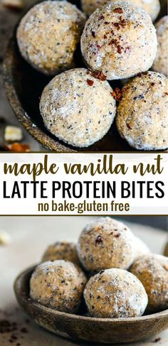 No Bake Maple Vanilla Latte Protein Bites are grain free, gluten free protein bites