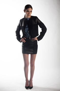 J'Amy Tarr Fall-2012 Look #6, Sueded silk charmeuse boat neck shell in blue, Lambskin and camel hair banded scallop detail skirt