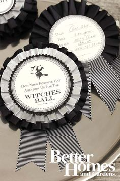 Black & White Ribbon Medallion - These invitations look harder to make than they are, thanks to pre-pleated ribbon and a downloadable template.