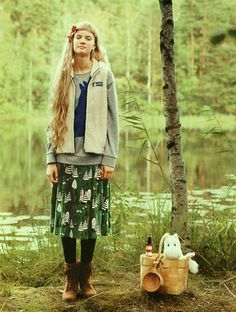 moomin Sweat and Skirt.   MOOMIN × シロップby FELISSIMO (Company of mail order).  Kawaii girlish style. Sweet girl fashion.