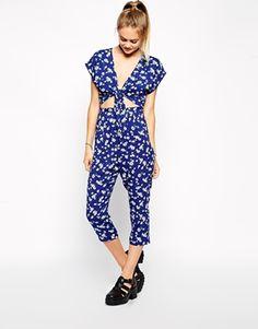 ASOS Reclaimed Vintage Tie Front Bright Blue Daisy Print Jumpsuit
