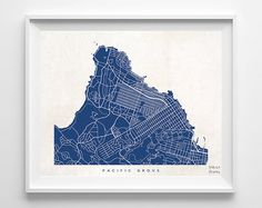 Pacific Grove Map California Print Pacific Grove by InkistPrints