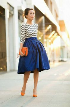 Chevron Print Top With Navy Blue Plated Mini Skirt And Orange Heels Cool Street Outfit | Her High Fashion