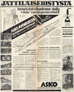Jättiläisedistystä huonekaluteollisuutemme alalla viime vuosikymmeninä! - Askon vanha lehtimainos vuodelta 1938
