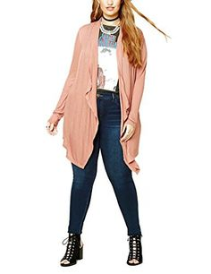Choco Mocha Women's Classic Open Front Soft Drape Cardigan Plus Size 18W