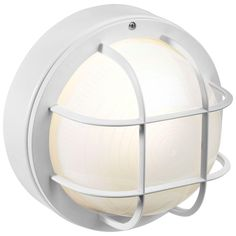 Newport Coastal 8 in. Flush-Mount Outdoor White Incandescent Round Nautical Light with Grille-7971-04W at The Home Depot