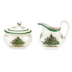 SPODE Christmas Tree Porcelain Sugar And Creamer Set $99 PICK UP (RED BANK, NJ) OR WE'LL SHIP FREE - INCLUDES NORTON SHOPPER PROTECTION & LOWEST PRICE ANYWHERE GUARANTEE: PURCHASE HERE: http://beachhippiehome.mybigcommerce.com/spode-christmas-tree-porcelain-sugar-and-creamer-set-99/