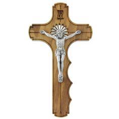 Olivewood Palm Crucifix w/ Silver Corpus