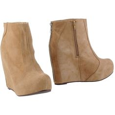 Jeffrey Campbell Ankle Boots ($119) ❤ liked on Polyvore featuring shoes, boots, ankle booties, wedges, beige, wedge booties, wedge heel ankle boots, leather booties, wedge boots и short leather boots