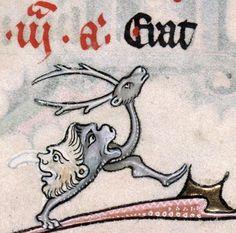 Buttfaced stag, Breviary of Renaud/Marguerite de Bar, Metz ca. 1302-1305 (Verdun, BM, ms. 107, fol. 100v)