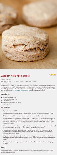 Whole Wheat Biscuits so easy my nine-year-old can make them by herself! From 100 Days of Real Food.