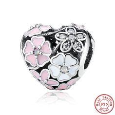 Luxury 100% 925 Sterling Silver Poetic Blooms  Heart Zircon Beads Fit Original  Charm Bracelet Silver Jewelry Gift