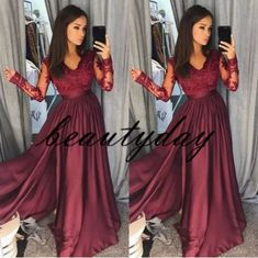 Hot Burgundy Prom Dresses 2018 Sheer Vintage Long Sleeves A Line V Neck Lace Side Split Formal Evening Party Wear Pageant Gowns Arabic