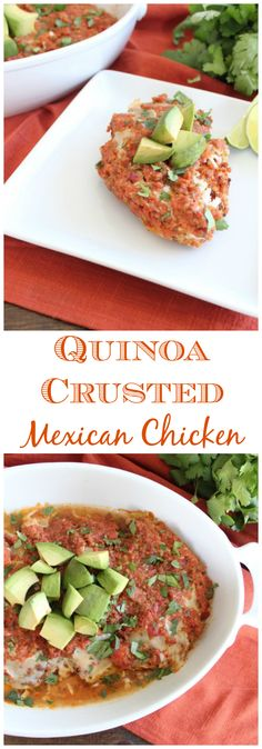 Baked Quinoa Crusted Mexican Chicken Recipe, made in the #WorldMarket Large White Oval Baker, served on #WorldMarket White Coupe Square Plates