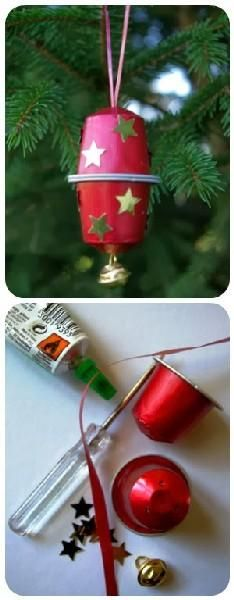 what else? K Cup Crafts, Christmas Crafts, Crafts For Kids, Christmas Decorations, Christmas Ornaments, Noel Christmas, Christmas Balls, Theme Noel, Christmas Activities