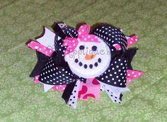 Christmas Winter Snowman Face Hair Bow Center by theappliquediva, $2.99