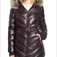 Bcbg generation Faux fur trim quilted parka. Aubergine color. Brand new still have tags BCBGeneration Jackets & Coats Puffers