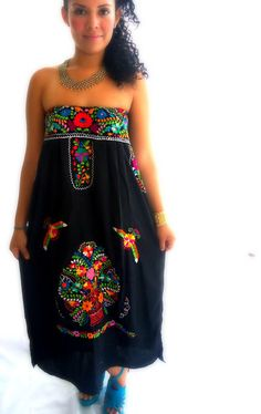 Flor de Medianoche  Handmade Mexican Embroidered Boho Strapless dress on Etsy, $188.00