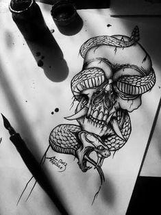 Resultado de imagen para skull and snake tattoo #TattooIdeasDibujos