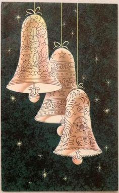 #1786 50s Mid Century Bells-Vintage Christmas Card-Greeting