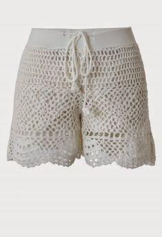 Retro, Indie and Unique Fashion Crochet Romper, Bikinis Crochet, Beach Crochet, Crochet Pants, Crochet Skirts, Crochet Clothes, Crochet Lace, Lace Shorts, Crochet Dresses