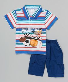 Loving this Royal Stripe Sports Polo & Shorts - Infant & Toddler on #zulily! #zulilyfinds