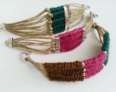 Woven wrap bracelet for women tribal bead tapestry bracelet - Jewelry Ideas Fiber Art Jewelry, Textile Jewelry, Fabric Jewelry, Macrame Jewelry, Sister Gifts, Best Friend Gifts, Gifts For Friends, Woven Wrap, Unique Gifts For Women