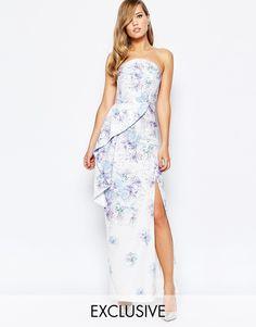 True Violet Bandeau Peplum Maxi Dress With Split In Print