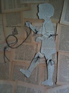 Newspaper replaced with magazine cuttings of people to create Hannah Hoch inspired piece. P&P: an alternative method of jointing these puppets - string, as opposed to split pins.cut and paste boy book puppetmake paper puppets of wolfie's friendsbook page Paper Puppets, Paper Toys, Paper Paper, Origami, Book Crafts, Arts And Crafts, Paper People, Paper Embroidery, Vintage Paper