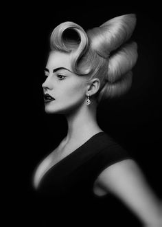 Eric Fisher haute couture hair design editorial photography black and white studio low key Crazy Hair, Big Hair, Vintage Hairstyles, Up Hairstyles, Avant Garde Hairstyles, High Fashion Hair, Competition Hair, Editorial Hair, Natural Hair Styles