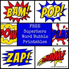 5 Best Images of Free Printable Superhero Pop Art - Pop Art Superhero Party Invitations, Free Printable Superhero Word Bubble and Superhero Pow Bam Boom Free Printables Superhero Teacher, Superhero Classroom Theme, Superhero Birthday Party, Classroom Themes, Boy Birthday, Batman Party, Birthday Parties, Superhero App, Superhero Treats