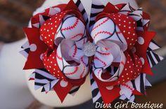 Girls Boutique Hairbow OTT Birthday Bow Zebra Red Softball Baseball Childrens Hairbows Adults Women Children Girls Teens Baby Toddler